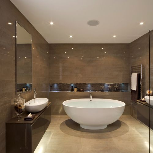 White Mosaic Tile Bathroom Contemporary With Beige Stone Floor Brown